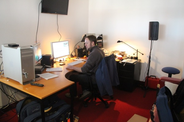 Editor Ian Graham in the makeshift edit suite