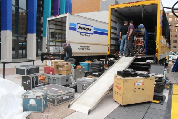 Some of the equipment trucked to Place des Arts to make this three-hour broadcast happen