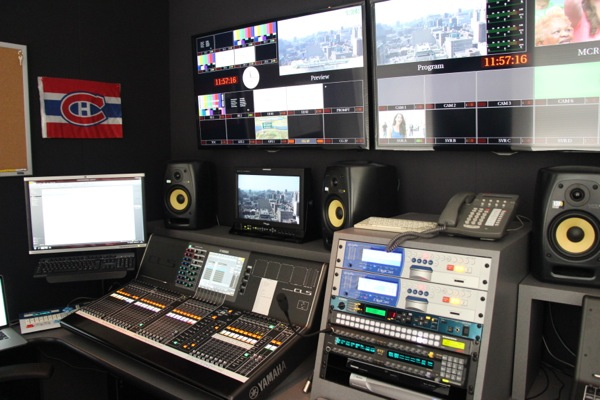 Behind the control room is a separate room for audio.