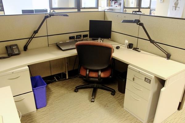 Bernard Perusse's empty desk in the Gazette office