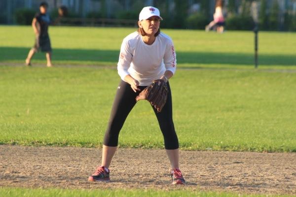 Debra Arbec in position near second base.