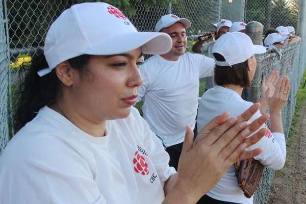 Sonali Karnick is enthusiastic in her cheering.