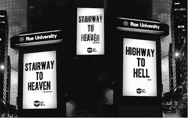 """An outdoor ad shows """"Stairway to Heaven"""" or """"Highway to Hell"""" depending on viewing angle."""