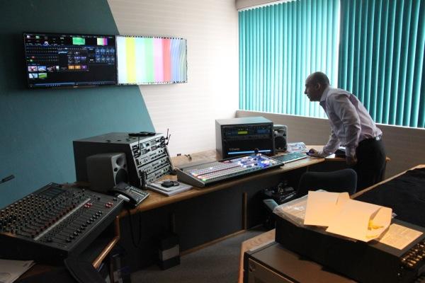 Sam Norouzi in the control room at ICI's studios in Ahuntsic