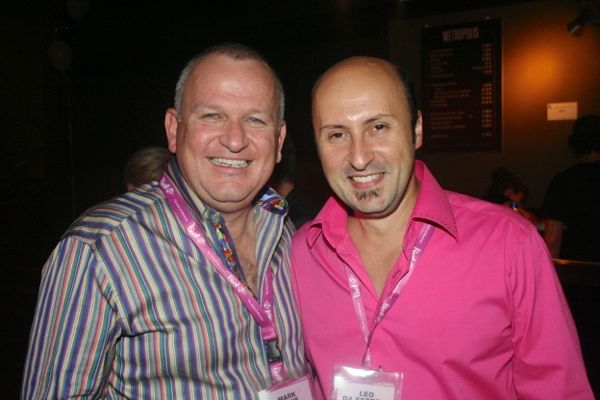 The Beat's general manager Mark Dickie, left, and program director Leo Da Estrela at the station's one-year anniversary party in 2012. Both are leaving the station.