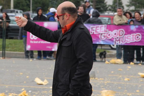 Leo Da Estrela doing his thing (though I'm not sure what thing he's doing) at the most recent pumpkin drop.