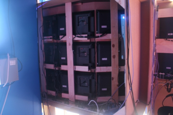 What the unsexy back of what video monitor wall looked like.