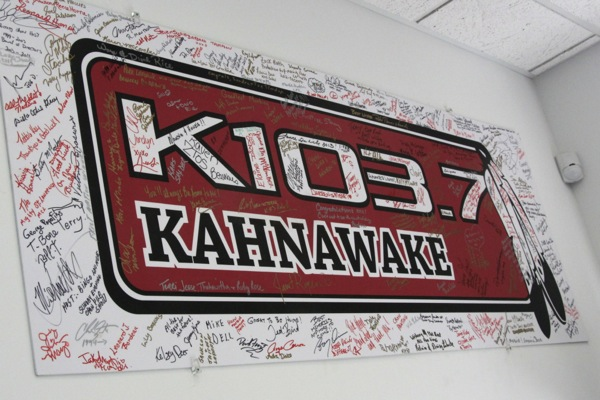 A sign that donors during the radiothon were invited to sign hangs in the lobby of the new building.