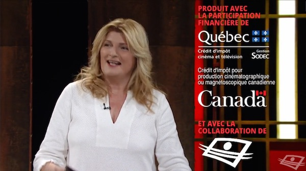 Marie-France Bazzo's BazzoTV is financed in part through a Canadian government tax credit.