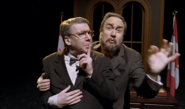 Greg Thomey as a nameless NDP MP, and Mark Critch as Tom Mulcair in a 22 Minutes song parody medley