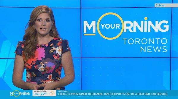 Lindsey Deluce does a Toronto news segment