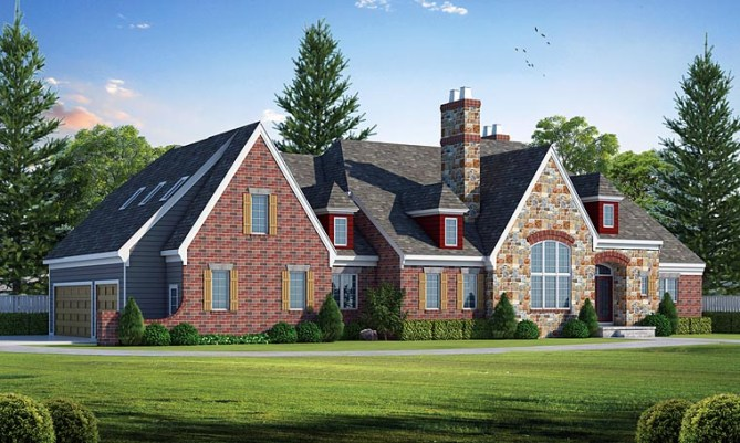 New European House Plan with 3,737 SQ FT