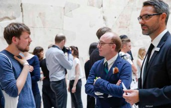 BERLIN, GERMANY - JULY 06: Tim Labenda, Antonio Cristaudo and Tobias Groeber during the award ceremony European Fashion Award FASH 2015 by SDBI at Neues Museum Berlin on July 6, 2015 in Berlin, Germany. (Photo by Isa Foltin/Getty Images for FASH2015_SDBI.DE)