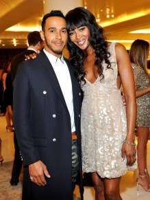 BEVERLY HILLS, CA - FEBRUARY 27: Race car driver Lewis Hamilton (L) and model Naomi Campbell attend Giorgio Armani Oscars Party on February 27, 2016 in Beverly Hills, California. (Photo by Donato Sardella/Getty Images for Giorgio Armani)
