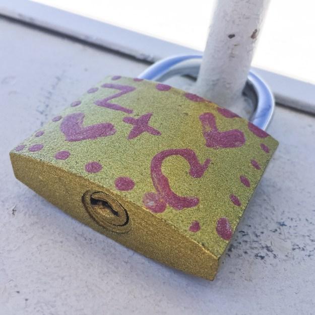 A lock on The World's Longest Floating Boardwalk