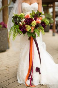 Flora Nova Design Seattle - Colorful Indian Wedding at the Edgewater Hotel. Dahlia Bouquet with Maidenhair Fern and Ribbon Streamers