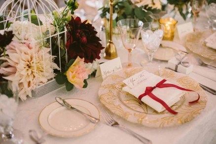 Flora Nova Design Seattle -Romantic DeLille Cellars Wedding. Winery Reception with Burgundy, Blush, and Cream Dahlia Centerpieces on Long Tables
