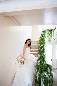 Flora Nova Design Seattle Wedding Bride Staircase Greenery Trailing Banister