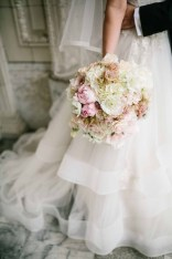 Flora Nova Design Seattle Blush bridal Bouquet with blushing bride, garden roses, and scabiosa