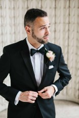 Flora Nova Design Seattle - groom boutonniere with blushing bride and spray roses
