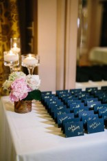 Flora Nova Design Seattle - Escort card table classic blush wedding at Arctic Club with peonies