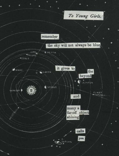 """Cut text from various out-of-print sources. Background image is from """"Smith's Illustrated Astronomy"""" (1848)."""