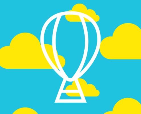 Canvas ad hot air balloon logo illustration