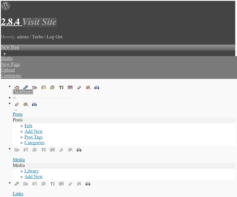 WordPress 2.8.4 dashboard without all the styling