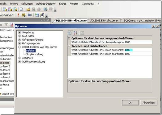 Nervig in SQL 2008 SSMS - Oberste 200 Zeilen bearbeiten