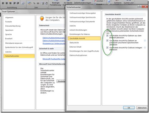 Öffnen von Office 2010 Dokumenten funktioniert nicht – Splashscreen bleibt im geschützten Modus stehen