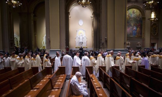 Clergy process into the Cathedral Basilica of Saints Peter and Paul, ahead of the papal mass in Philadelphia, Pennsylvania on 26 September 2015.