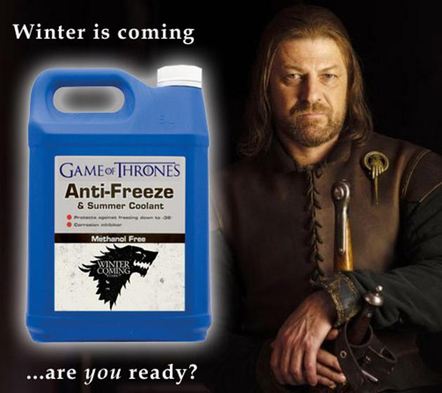 Game of Thrones Winter is Coming Anti Freeze