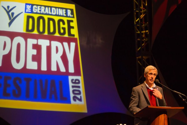 Dodge Foundation President and CEO Chris Daggett at the Dodge Poetry Festival at NJPAC in 2016. © T Charles Erickson Photography tcepix@comcast.net