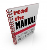 """Employee Manual with cover that says """"Read the Manual - Instructions, Help & Advice"""""""