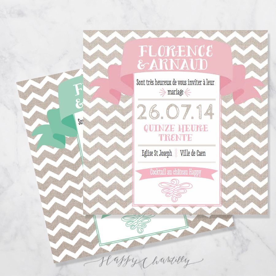 faire part mariage moderne happy chantilly