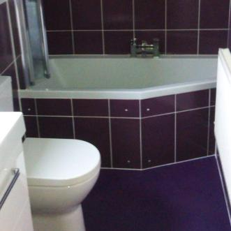 purple plum floor in bathroom