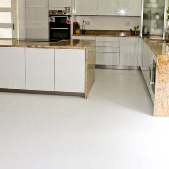 Kitchen with white vinyl flooring