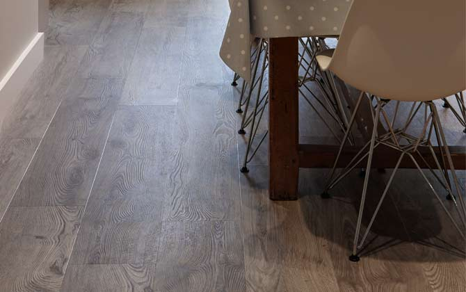 Oak effect kitchen floor
