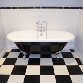 Black and white checkerboard bathroom