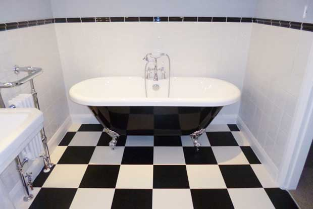 Black and white checkerboard bathroom
