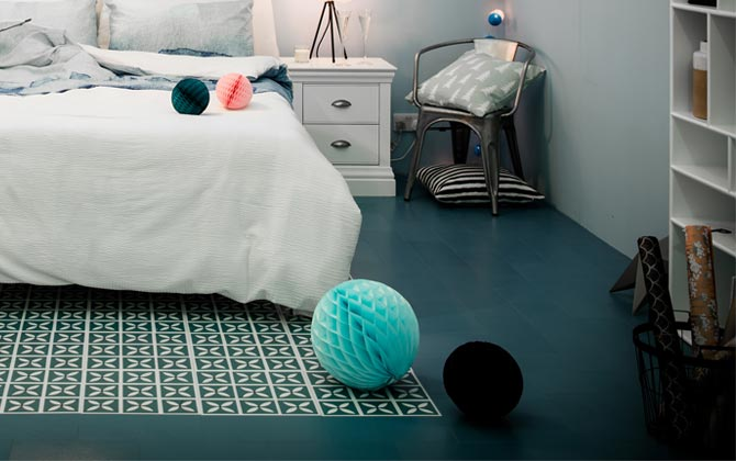 blue bedroom flooring