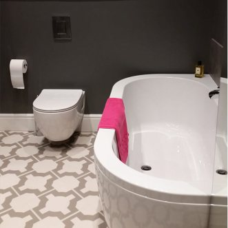 bath and luxurious vinyl flooring
