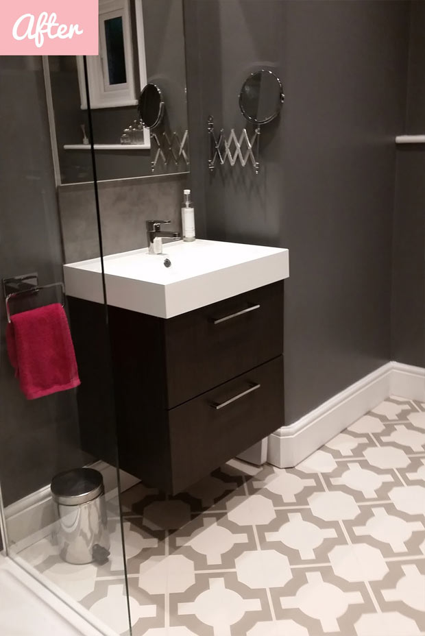 modern bathroom with designer vinyl flooring
