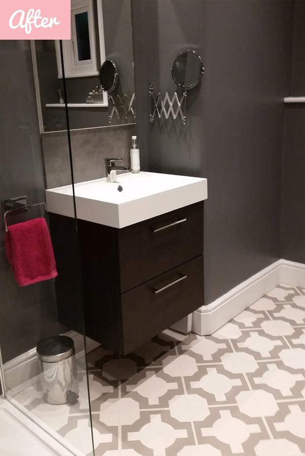 modern bathroom with designer vinyl flooring