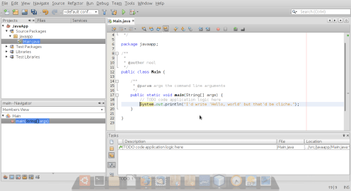 The main screen of a NetBeans project