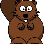 cute, adorable cartoon beaver with big eyes and tail