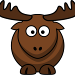 cute, adorable cartoon elk moose with antlers horns big eyes