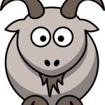 cute, adorable cartoon goat kid cabra with big eyes and horns