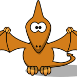 cute, adorable cartoon pterodactyl flying dinosaur with big eyes