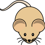 cute, adorable cartoon tan brown mouse with big eyes